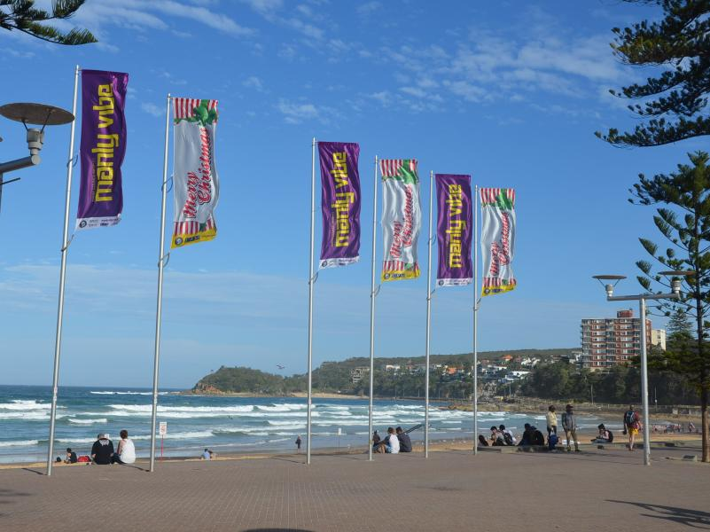 Flags on Manly Beach.JPG